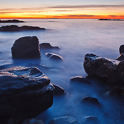 Rocks and surf at dawn, Wallis Sands State Park, Rye, New Hampshire.
