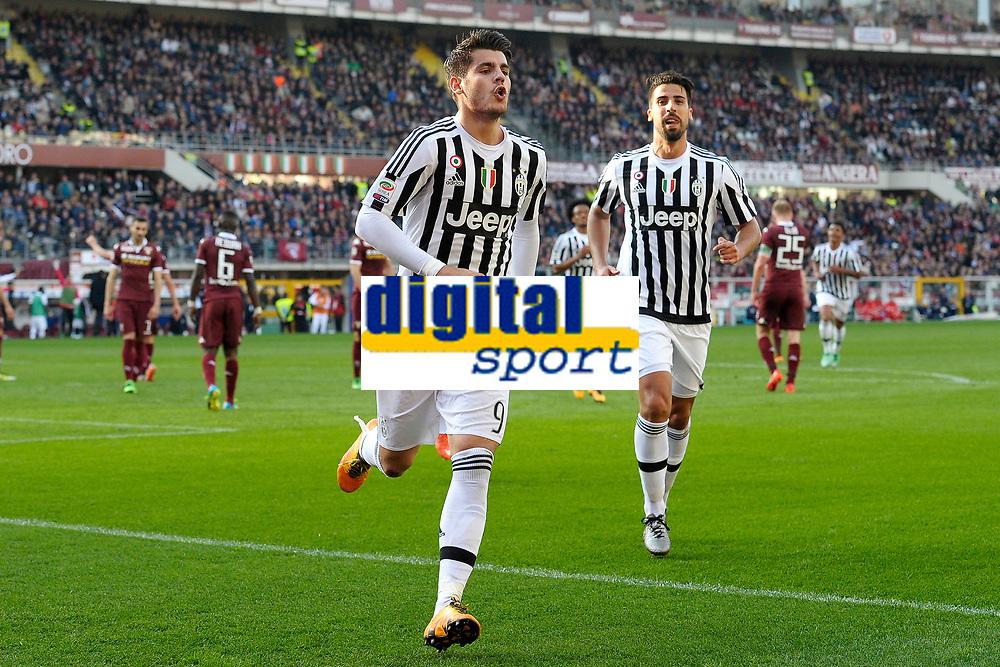 Esultanza Gol Alvaro Morata con Sami Khedira Goal celebration <br /> Torino 20-03-2016 Stadio Olimpico Football Calcio Serie A 2015/2016 Torino - Juventus. Foto Filippo Alfero / Insidefoto