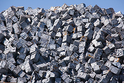 Baled up tin plate in a pile at Liverpool docks awaiting to be exported,