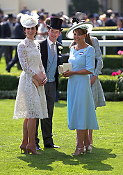 The Duchess of Cambridge (left), and Carole Middelton (right) during day one of Royal Ascot at Ascot Racecourse. PRESS ASSOCIATION Photo. Picture date: Tuesday June 20, 2017. See PA story RACING Ascot. Photo credit should read: Jonathan Brady/PA Wire. RESTRICTIONS: Use subject to restrictions. Editorial use only, no commercial or promotional use. No private sales