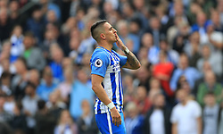 Brighton & Hove Albion's Anthony Knockaert celebrates scoring his side's first goal of the game during the Premier League match at the AMEX Stadium, Brighton.