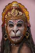Hanuman mask for Raas festival<br /> Mising Tribe (Mishing or Miri Tribe)<br /> Majuli Island, Brahmaputra River<br /> Largest river island in India<br /> Assam,  ne India