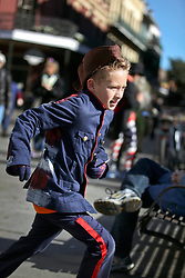 09 February 2016. New Orleans, Louisiana.<br /> Mardi Gras Day. Running around the French Quarter.<br /> Photo©; Charlie Varley/varleypix.com
