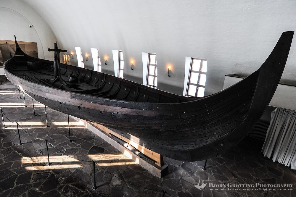 Norway, Oslo, Bygdøy. The Gokstad Ship at the Viking ship museum.