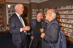Left to right, Charles Saumarez Smith, John Virtue & Alan Yentob at the third annual Fortnum's x Frank exhibition at Fortnum & Mason, 181 Piccadilly, London, UK on September 12, 2018.<br /> 12 September 2018.