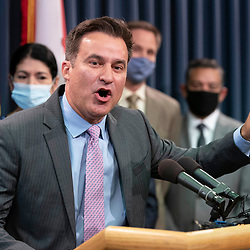 State Sen. Roland Gutierrez, D-San Angelo, joins nine Texas Democratic senators who supported their House quorum-busting colleagues in Washington, D. C. as they return to the Texas Capitol on July 21, 2021 and explained their opposition to voting bills in the special session.