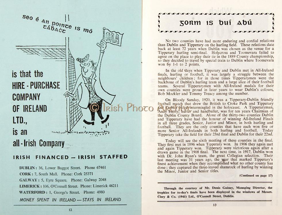 All Ireland Senior Hurling Championship Final,.03.09.1961, 09.03.1961, 3rd September 1961,.Minor Tipperary v Kilkenny, .Senior Dublin v Tipperary, Tipperary 0-16 Dublin 1-12,..Irish Financed- Irish Staffed, .Dublin 36 Lower Baggot Street, .Cork 7 South Mall,.Galway 5 Eyre Square, .Limerick 106 O'Connell Street, .Waterford 1 Georges's Street,