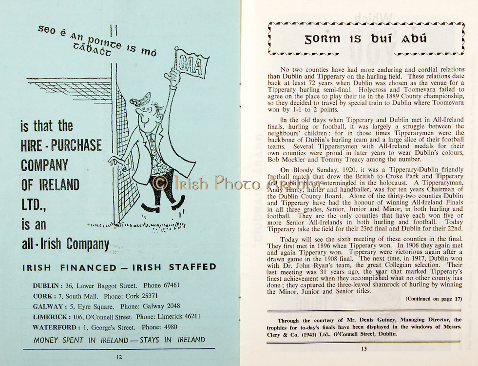 All Ireland Senior Hurling Championship Final,.03.09.1961, 09.03.1961, 3rd September 1961,.Minor Tipperary v Kilkenny, .Senior Dublin v Tipperary, Tipperary 0-16 Dublin 1-12,..Irish Financed- Irish Staffed, .Dublin 36 Lower Baggot Street, .Cork 7 South Mall,.Galway 5 Eyre Square, .Limerick 106 O'Connell Street, .Waterford 1 Georges's Street,