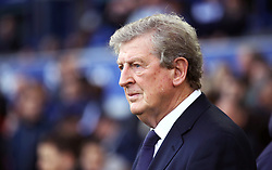 """Crystal Palace manager Roy Hodgson during the Premier League match at Goodison Park, Liverpool. PRESS ASSOCIATION Photo. Picture date: Sunday October 21, 2018. See PA story SOCCER Everton. Photo credit should read: Tim Goode/PA Wire. RESTRICTIONS: EDITORIAL USE ONLY No use with unauthorised audio, video, data, fixture lists, club/league logos or """"live"""" services. Online in-match use limited to 120 images, no video emulation. No use in betting, games or single club/league/player publications."""