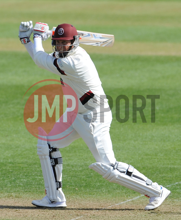 Somerset's Marcus Trescothick cuts the ball off the bowling of Durham's Chris Rushworth- Photo mandatory by-line: Harry Trump/JMP - Mobile: 07966 386802 - 12/04/15 - SPORT - CRICKET - LVCC County Championship - Day 1 - Somerset v Durham - The County Ground, Taunton, England.