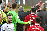 Football - 2020 / 2021 Sky Bet Championship - Swansea City vs Middlesbrough - Liberty Stadium<br /> <br /> Middlesbrough manager Dave Warnock protest to referee Mr Gavin Ward  as both raise their arms over his award of a penalty in the final minutes as he leaves the pitch<br /> <br /> <br /> COLORSPORT/WINSTON BYNORTH