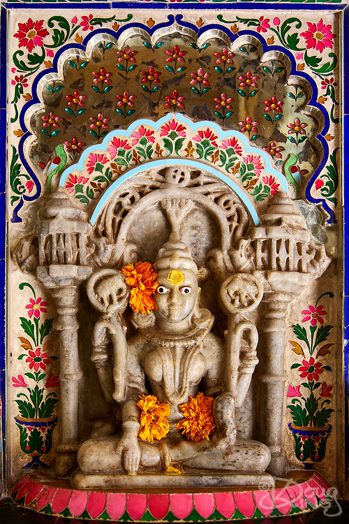 Shrines highly decorated with ceramics are a feature of the City Palace in the city of Udaipur, Rajasthan, India <br /> <br /> Editorial & Non-Commercial use only