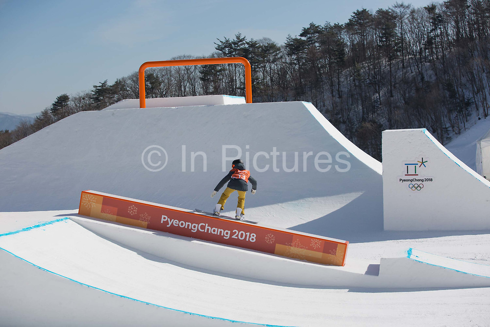 Silje Norendal, Norway, during the snowboard slopestyle practice on the 7th February 2018 at Phoenix Snow Park for the Pyeongchang 2018 Winter Olympics in South Korea