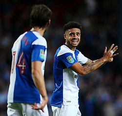 Derrick Williams of Blackburn Rovers gestures to Charlie Mulgrew  - Mandatory by-line: Matt McNulty/JMP - 23/08/2017 - FOOTBALL - Ewood Park - Blackburn, England - Blackburn Rovers v Burnley - Carabao Cup - Second Round