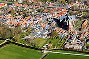 Nederland, Friesland, Gemeente Sudwest-Fryslan (Zuidwest-Friesland), 16-04-2012. Workum met Grote of Sint-Gertrudiskerk. Naast de kerk de Waag. .Small town with monumental church in Frisian countryside..luchtfoto (toeslag), aerial photo (additional fee required);.copyright foto/photo Siebe Swart