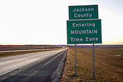 South Dakota SD USA, The border between Mountain and Central time zones in South Dakota. On the border between Jones and Jackson counties. Entering Mountain time zone sign