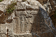 13th century BC Hittite religious rock carvings of Yazılıkaya Hittite rock sanctuary, chamber B,  Hattusa, Bogazale, Turkey. .<br /> <br /> If you prefer to buy from our ALAMY PHOTO LIBRARY  Collection visit : https://www.alamy.com/portfolio/paul-williams-funkystock/yazilikaya-hittite-sanctuary-hattusa.html<br /> <br /> Visit our ANCIENT WORLD PHOTO COLLECTIONS for more photos to download or buy as wall art prints https://funkystock.photoshelter.com/gallery-collection/Ancient-World-Art-Antiquities-Historic-Sites-Pictures-Images-of/C00006u26yqSkDOM