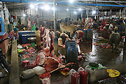 Sanitary conditions in Cambodia's abattoirs are atrocious. Abattoir workers neither wear protective aprons, gloves nor clean clothes. The floor is bathed in offal, blood and excrement. There is a busy, unchecked thoroughfare of people and vehicles going in and out, treading in all sorts of dirt and microbes, many likely to end up in the food chain. A melting point for infection and disease, abattoirs like this are commonplace.