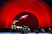 "A dancer waves a red flag near the end of Barak Marshall's ballet ""Harry"", which deals with issues of life, death and conflict."