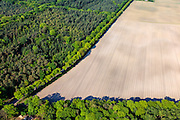 Nederland, Noord-Brabant, Gemeente Gemert-Bakel, 27-05-2013; Doctor de Quayweg, grens natuurgebied Stippelberg met landbouwgebied<br /> The Peel, originally vast moorland in, reclaimed by Heijdemij to woodland and farmland.<br /> luchtfoto (toeslag op standard tarieven)<br /> aerial photo (additional fee required)<br /> copyright foto/photo Siebe Swart
