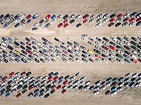 Aerial view of an angle crowded parking in Idaho, USA.
