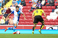 Ben Marshall of Blackburn Rovers runs at John Mousinho of Burton Albion during the EFL Sky Bet Championship match between Blackburn Rovers and Burton Albion at Ewood Park, Blackburn, England on 20 August 2016. Photo by Simon Brady.