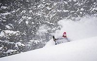 Erme Catino takes advantage of a north west flowing storm in the Wasatch Mountains, Utah.