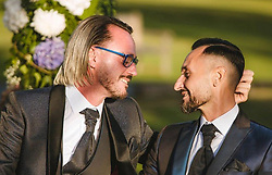 July 3, 2018.Priest gay marriage.Catholic priest Giuliano Costalunga has married his friend in Gran Canaria, Spain. Don Giuliano is still a priest because he has not asked to leave the priesthood..''Sad story for the church, we will take action immediately'' so Monsignor Giuseppe Zenti, bishop of Verona..Father Giuliano Costalunga and his husband Paolo (Credit Image: © Mp/Ropi via ZUMA Press)