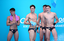 England's Daniel Goodfellow (left to right), Tom Daley, Matthew Dixon and Noah Williams after their final dive in the Men's Synchronised 10m Platform Final at the Optus Aquatic Centre during day nine of the 2018 Commonwealth Games in the Gold Coast, Australia.