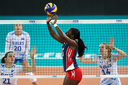 Yokaty Perez Flores of Dominican Republic during the volleyball match between National team of Slovenia and Dominican Republic in Preliminary Round of Womens U23 World Championship 2017, on September 11, 2017 in SRC Stozice, Ljubljana, Slovenia. Photo by Morgan Kristan / Sportida