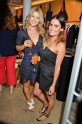 Left to right, JESSICA KNOWLES and LAYLA ANNA-LEE at a party to celebrate the paperback lauch of The Stylist by Rosie Nixon hosted by Donna Ida at her store at 106 Draycott Avenue, London on 17th August 2016.