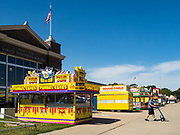 30 JULY 2019 - DES MOINES, IOWA:  A soft drink delivery driver leaves Varied Industries Building on the Iowa State Fair fairgrounds after making a delivery in the building. The The Iowa State Fair Is one of the largest state fairs in the United States and runs for 10 days. In 2019, it runs from August 8 to 18. More than one million people attend the fair every year. Most of the food concessions at the fair don't open until August 3, when exhibitors arrive, but the Westmoreland Concessions corn dog stand opened on July 28. One of the stand's workers said a lot of people drive out to the fairgrounds the week before the fair to buy corn dogs because the fair is so crowded and concession lines are very long.    PHOTO BY JACK KURTZ
