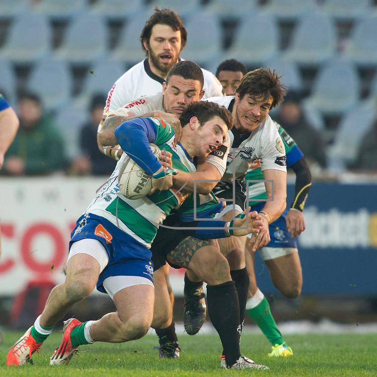 Rugby Guinness PRO12 2014/2015<br /> Zebre vs Treviso <br /> Simone Ragusi placcato da Andrea Manici