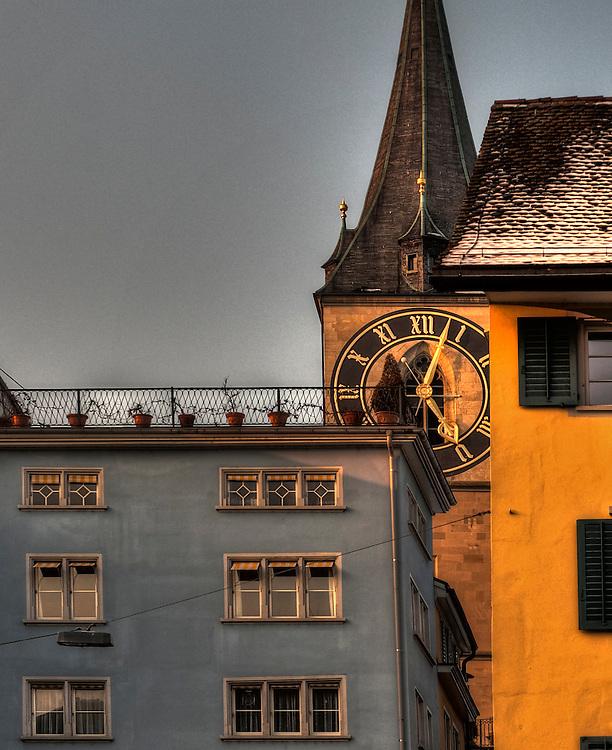 Zürich old city clock tower