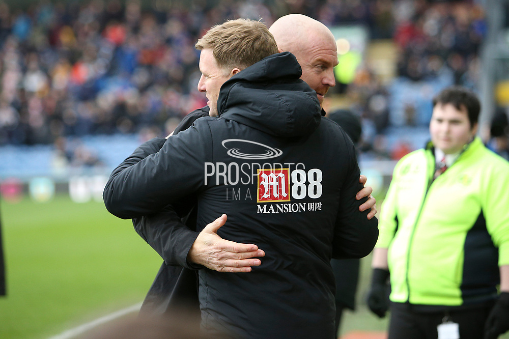Burnley Manager Sean Dyche and Bournemouth Manager Eddie Howe  during the Premier League match between Burnley and Bournemouth at Turf Moor, Burnley, England on 22 February 2020.