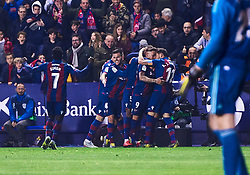 February 24, 2019 - Valencia, U.S. - VALENCIA, SPAIN - FEBRUARY 24: Roger Marti, forward of Levante UD, celebrates his goal with his teammates during the La Liga match between Levante UD and Real Madrid CF at Ciutat de Valencia stadium on February 24, 2019 in Valencia, Spain. (Photo by Carlos Sanchez Martinez/Icon Sportswire) (Credit Image: © Carlos Sanchez Martinez/Icon SMI via ZUMA Press)