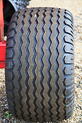 Close up of tread of rubber tyre on farm vehicle