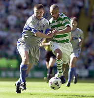 Celtic v Dunfermline, Scottish Premier League, Celtic Park, Glasgow..<br />Pic Ian Stewart,  Saturday September 8th. 2001<br />Larsson and Thompson both chase after the ball.