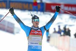 Emilien Jacquelin of France celebrates during the IBU World Championships Biathlon Men Pursuit competiton, on February 14, 2021 in Pokljuka, Slovenia. Photo by Primoz Lovric / Sportida