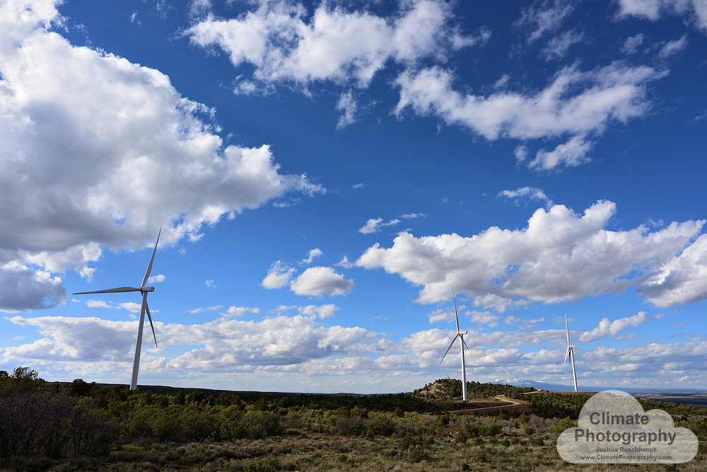 Latigo Wind Park near Monticello, Utah.<br /> <br /> The Latigo Wind Park, owned by sPower, completed construction in December 2015. These mountain-side turbines are monitored very carefully by two contracted biologists, who are networked with the individual tower operations and can slow or stop individual turbines in the Park at any time to prevent an Eagle collision.<br /> <br /> On the day these images were made, contractors had just completed construction of two Eagle watch towers for the biologists, who were operating from the grounds for five months, in the elements. These strategically-positioned towers give 360-degree views of the Park, and shelter to the biologists during the roughest winds and weather.<br /> <br /> Curtailing individual towers for Eagle safety does not significantly impact the operations of the entire project, and is becoming a common practice among wind turbine operators, among other technology uses for avian safety.<br /> <br /> Photos in this gallery are property released by sPower.