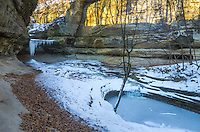 La Salle Canyon is a 2 mile hike one way in Starved Rock State Park. There was hardly any water flowing on this frigid morning. The early morning light was shining on the canyon walls.<br />