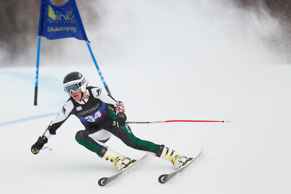 Charlotte Techen Lemgart, of Plymouth State University, skis during the first run of the women's giant slalom of the University of Vermont Carnival on January 10, 2014 in Stowe, VT. (Dustin Satloff/EISA)