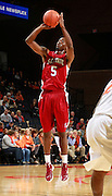 CHARLOTTESVILLE, VA- NOVEMBER 13: Omar Sanders #5 of the South Carolina State Bulldogs shoots the ball during the game on November 13, 2011 at the John Paul Jones Arena in Charlottesville, Virginia. Virginia defeated South Carolina State 75-38. (Photo by Andrew Shurtleff/Getty Images) *** Local Caption *** Omar Sanders