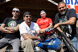 Billy Lane on his Knucklehead rider with Xavier Murial, Fred Bollwage and Chris Callan at the the Iron Horse Saloon during the Sturgis Black Hills Motorcycle Rally. Sturgis, SD, USA. Tuesday, August 6, 2019. Photography ©2019 Michael Lichter.