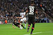 Tottenham Hostpur midfielder Victor Wanyama (12) fouling Bayer Leverkusen forward Admir Mehmedi (14) during the Champions League match between Tottenham Hotspur and Bayer Leverkusen at Wembley Stadium, London, England on 2 November 2016. Photo by Matthew Redman.