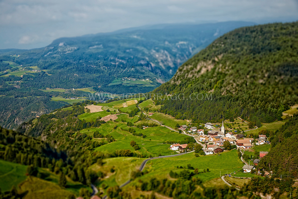 A bird's eye view of the Village of Castelrotto, Italy.