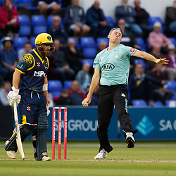 Surrey's Rikki Clarke bowls to Glamorgan's Kieran Carlson<br /> <br /> Photographer Simon King/Replay Images<br /> <br /> Vitality Blast T20 - Round 14 - Glamorgan v Surrey - Friday 17th August 2018 - Sophia Gardens - Cardiff<br /> <br /> World Copyright © Replay Images . All rights reserved. info@replayimages.co.uk - http://replayimages.co.uk