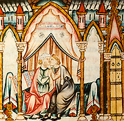 SPAIN, MIDDLE AGES, EL ESCORIAL 13thC Cantigas illuminated poems created for Alfonso X of Castile shows lovers kissing in bedroom