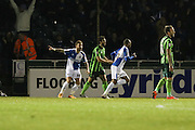 Jermaine Easter of Bristol Rovers FC puts Bristol Rovers  up 1-0 during the Sky Bet League 2 match between Bristol Rovers and AFC Wimbledon at the Memorial Stadium, Bristol, England on 8 March 2016. Photo by Stuart Butcher.