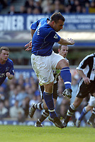 Everton's David Unsworth blasts the winning goal from the penalty spot against Newcastle during the Premiership match at Goodison Park, Liverpool, Sunday, March 6th, 2003.<br /><br />Pic by David Rawcliffe/Digitalsport